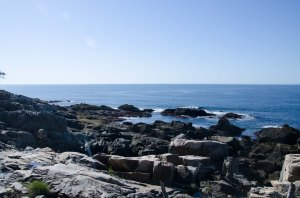 Otter Point with big granite boulders forming tide pools that we could not get to.
